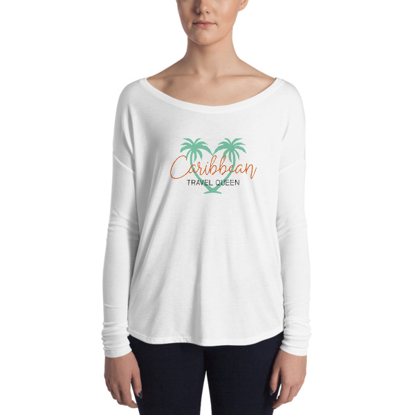 Long Sleeve Ladies Shirt - Caribbean Travel Queen Shop Vacation and Travel Tees Boutique